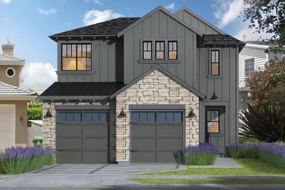 Farmhouse Elevation:Charcoal Gray Color Scheme