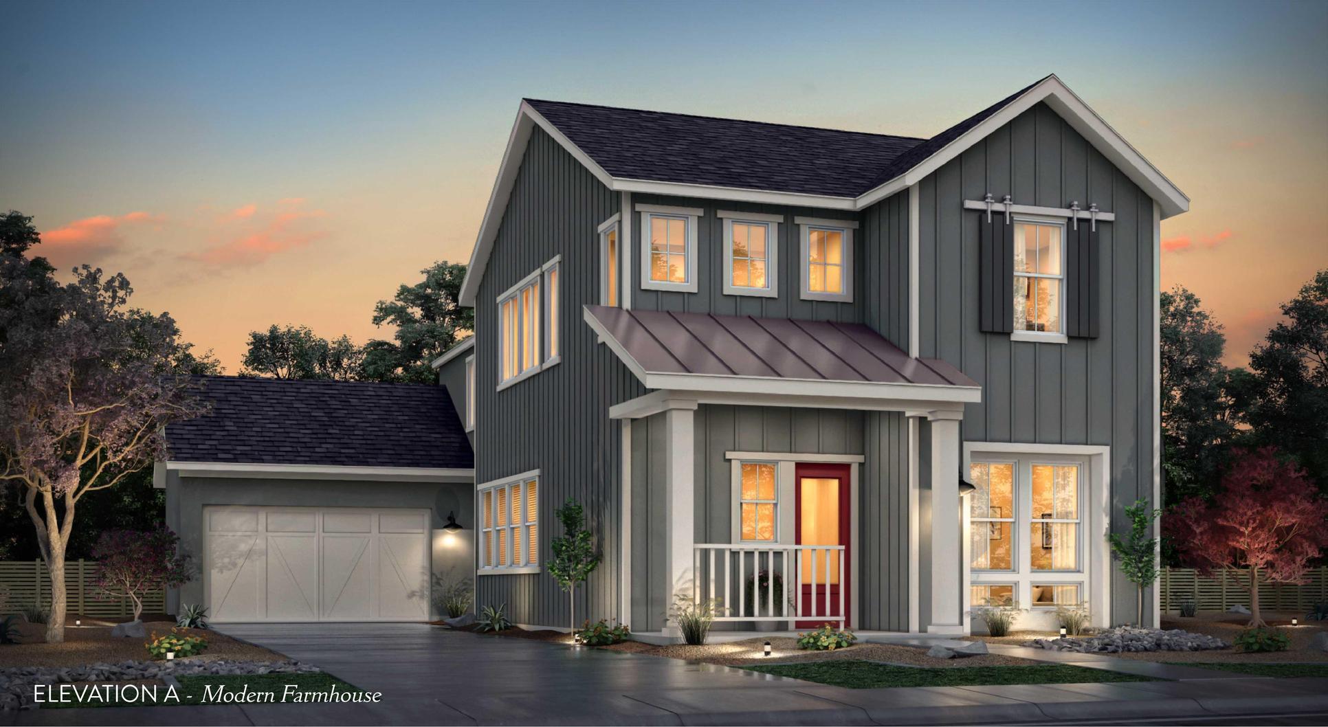 Elevation A:Modern Farmhouse