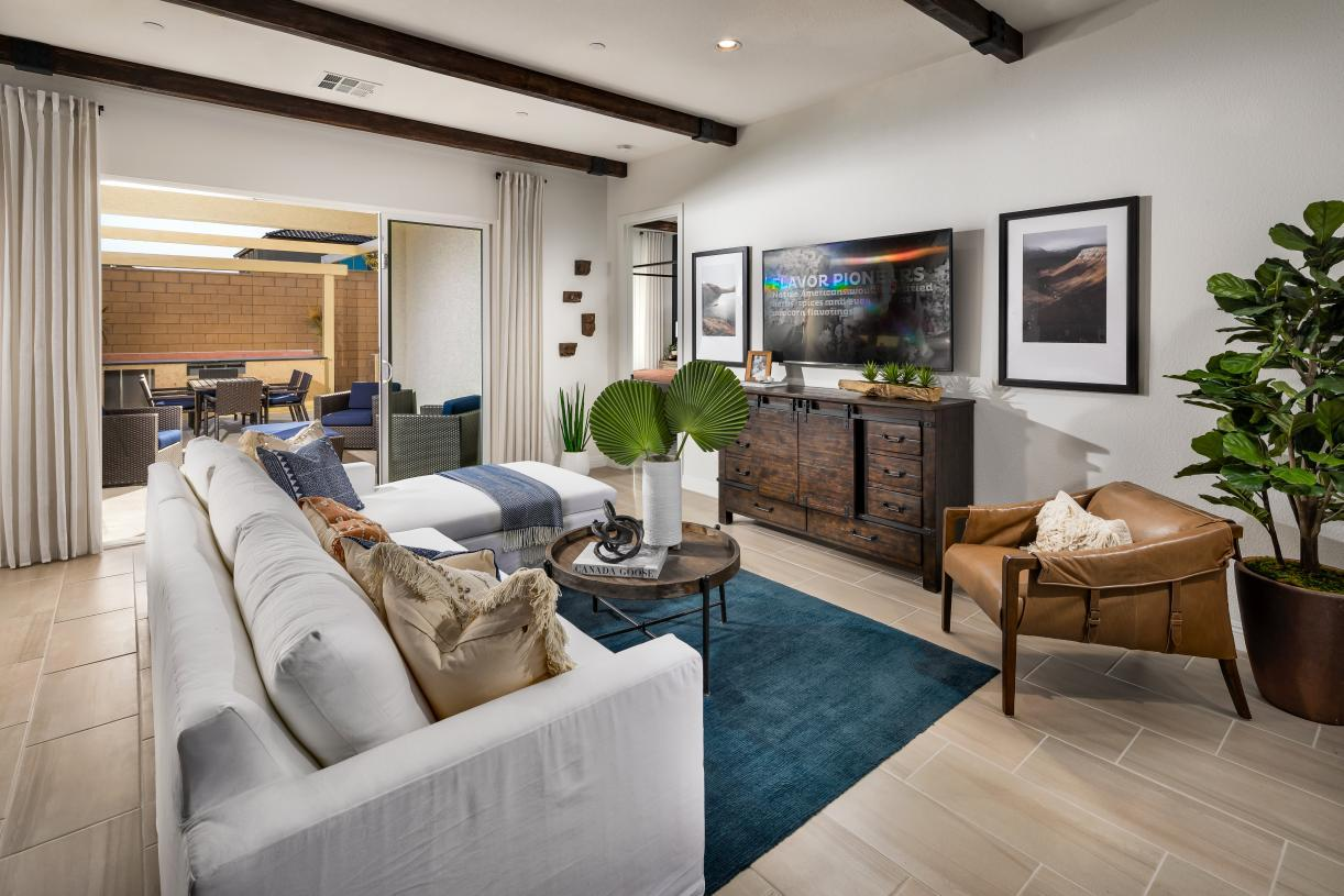 Interior Image:Spacious Great Room Opens to Desirable Covered Patio
