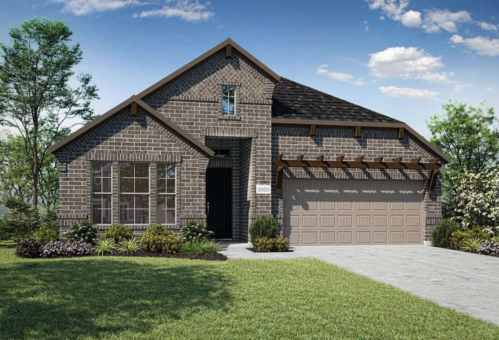 Elevation D:Elevation D is a single story, full brick home design with decorative cedar trellis above garage.