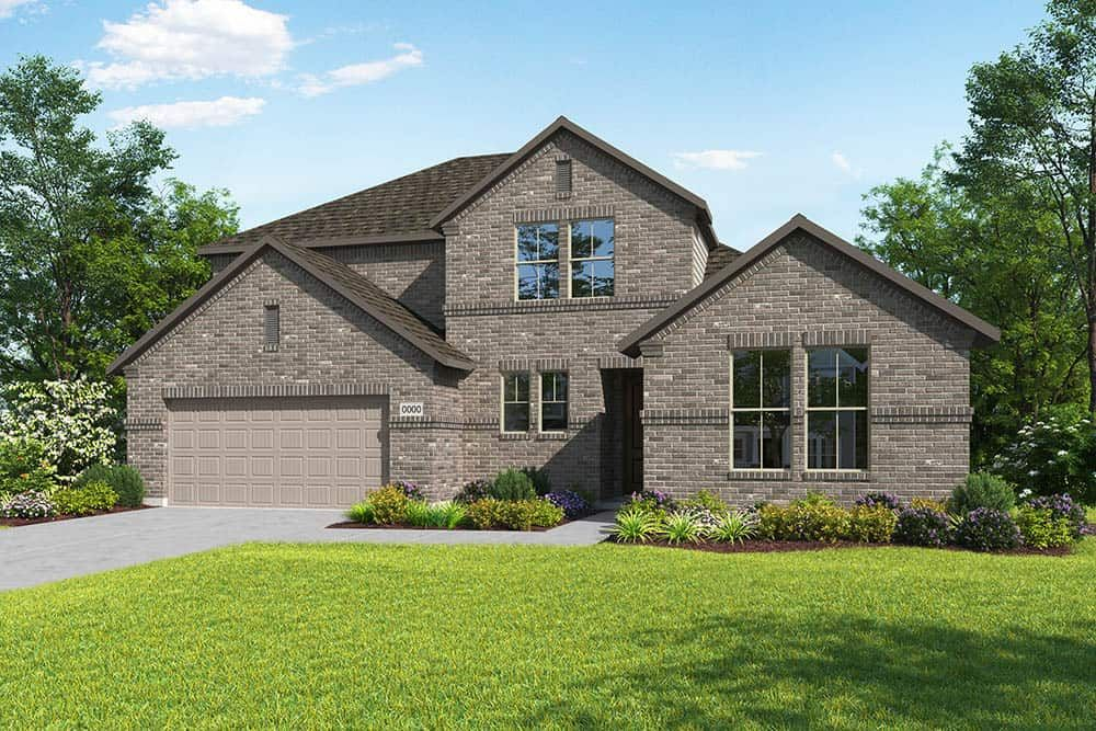 Elevation B:Elevation B is a two story full brick traditional home design with ample front windows to provide na