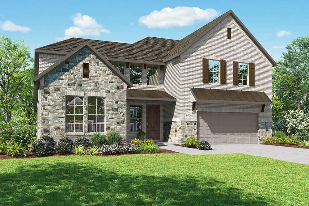 Elevation D:Elevation D is a two story farmhouse inspired brick and stone elevation with a metal roof detail on
