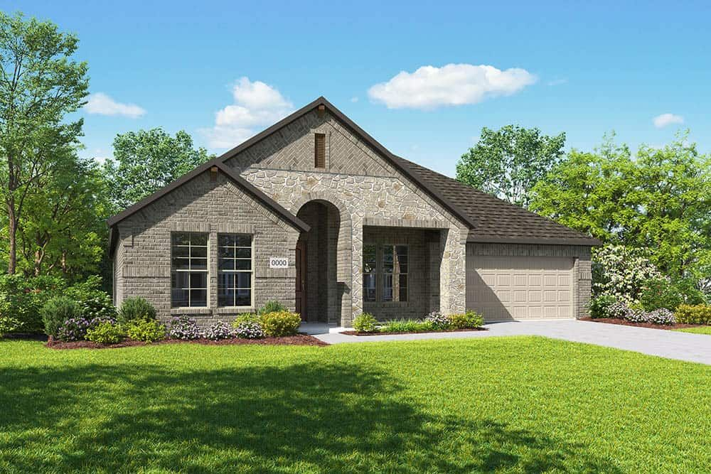 Elevation C:Elevation C is a single story brick and stone home design with an arched entry and a front porch. Ma