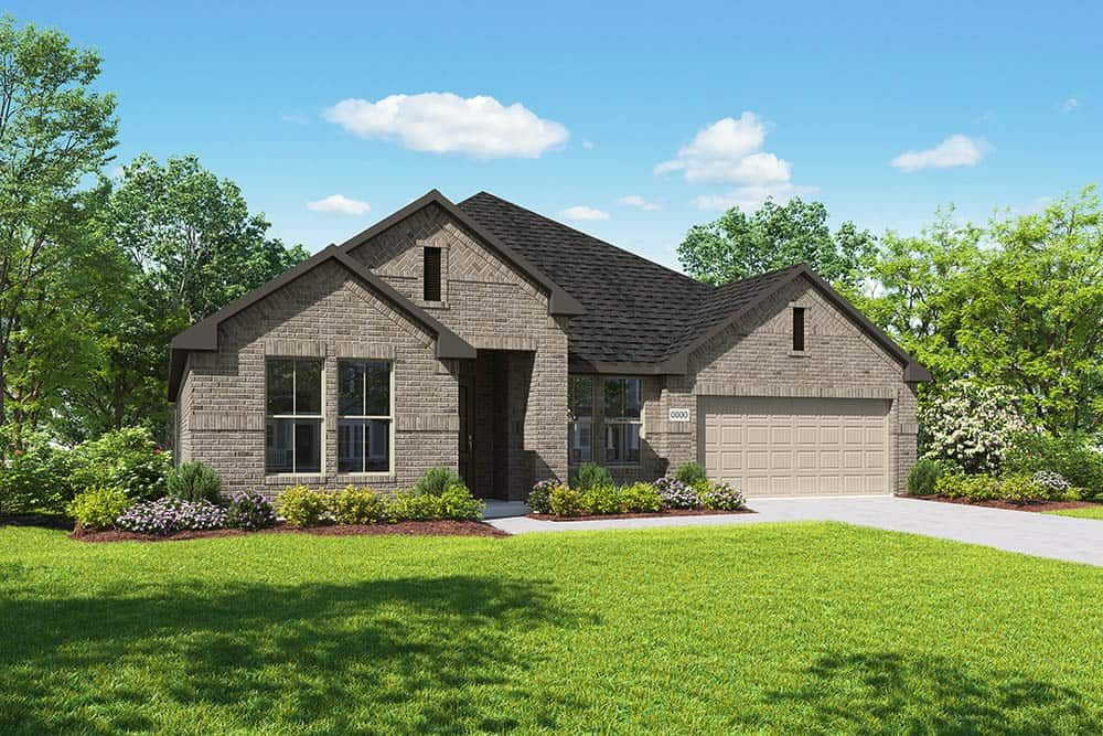 Elevation B:Elevation B is a single story full brick home design with herringbone brick details. Many designer c