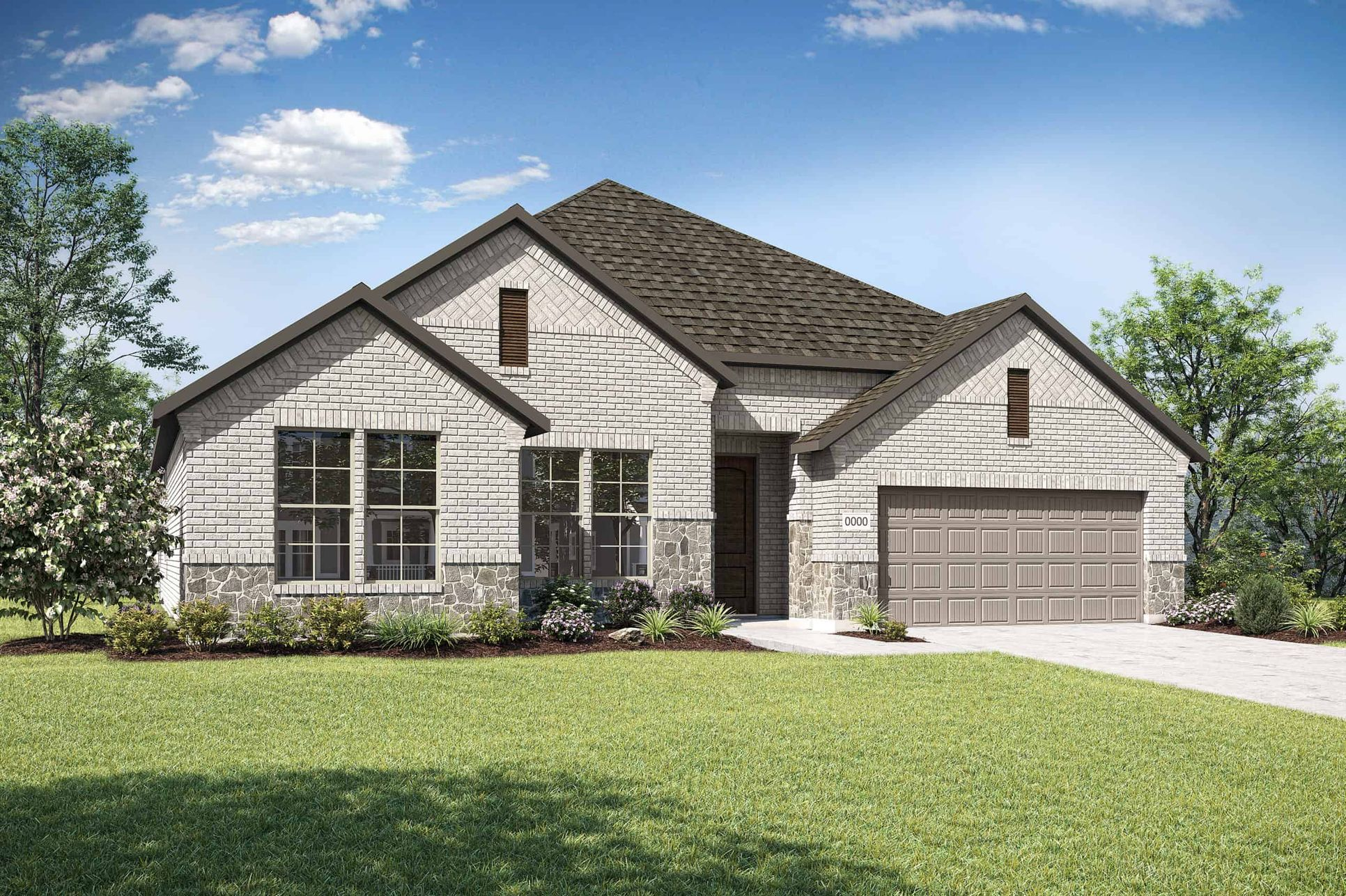 Elevation C:Elevation C is a single story brick and stone home design with a unique double basketweave brick fea