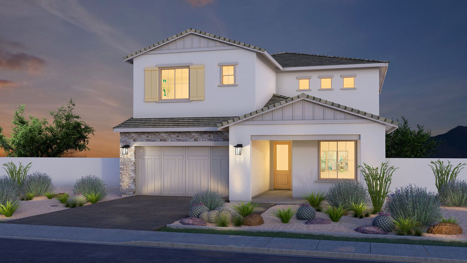 MH-residence-Canopy-North-404-B-DUSK-L:Modern Ranch Elevation