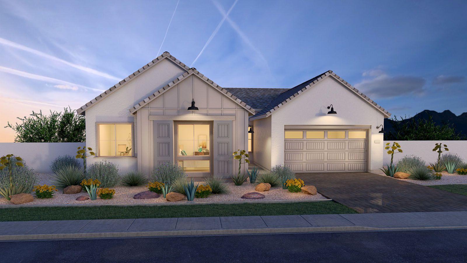 MH-residence-Avocet-50-1-B-Modern-Farmhouse-DUSK-R:Farmhouse Elevation