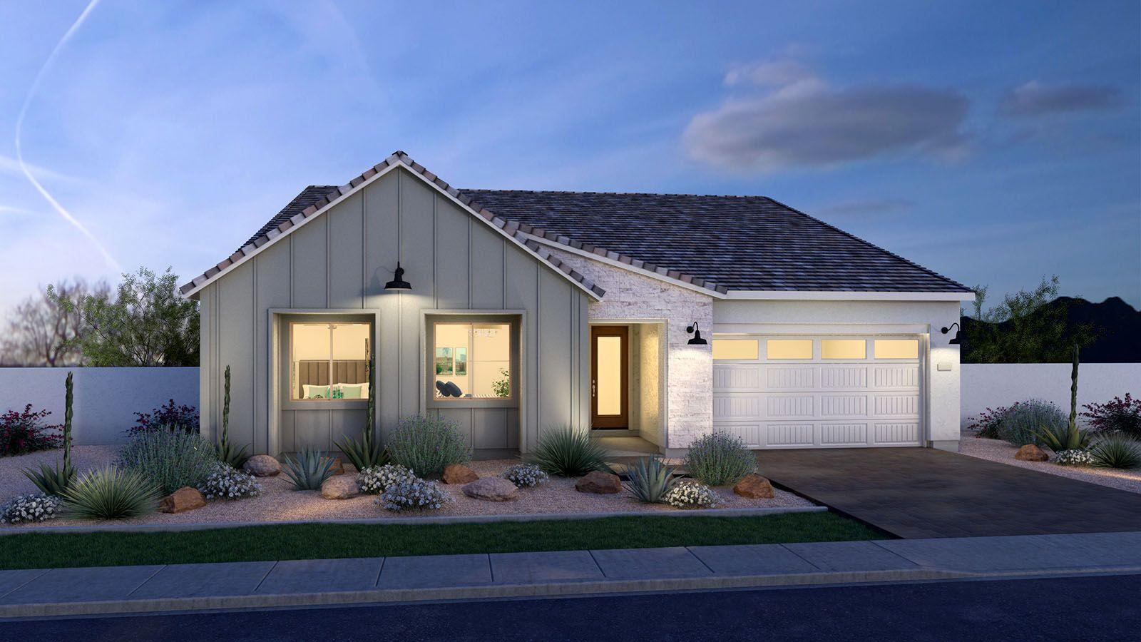 MH-residence-Avocet-50-2-B-Modern-Farmhouse-DUSK-1:Farmhouse Elevation