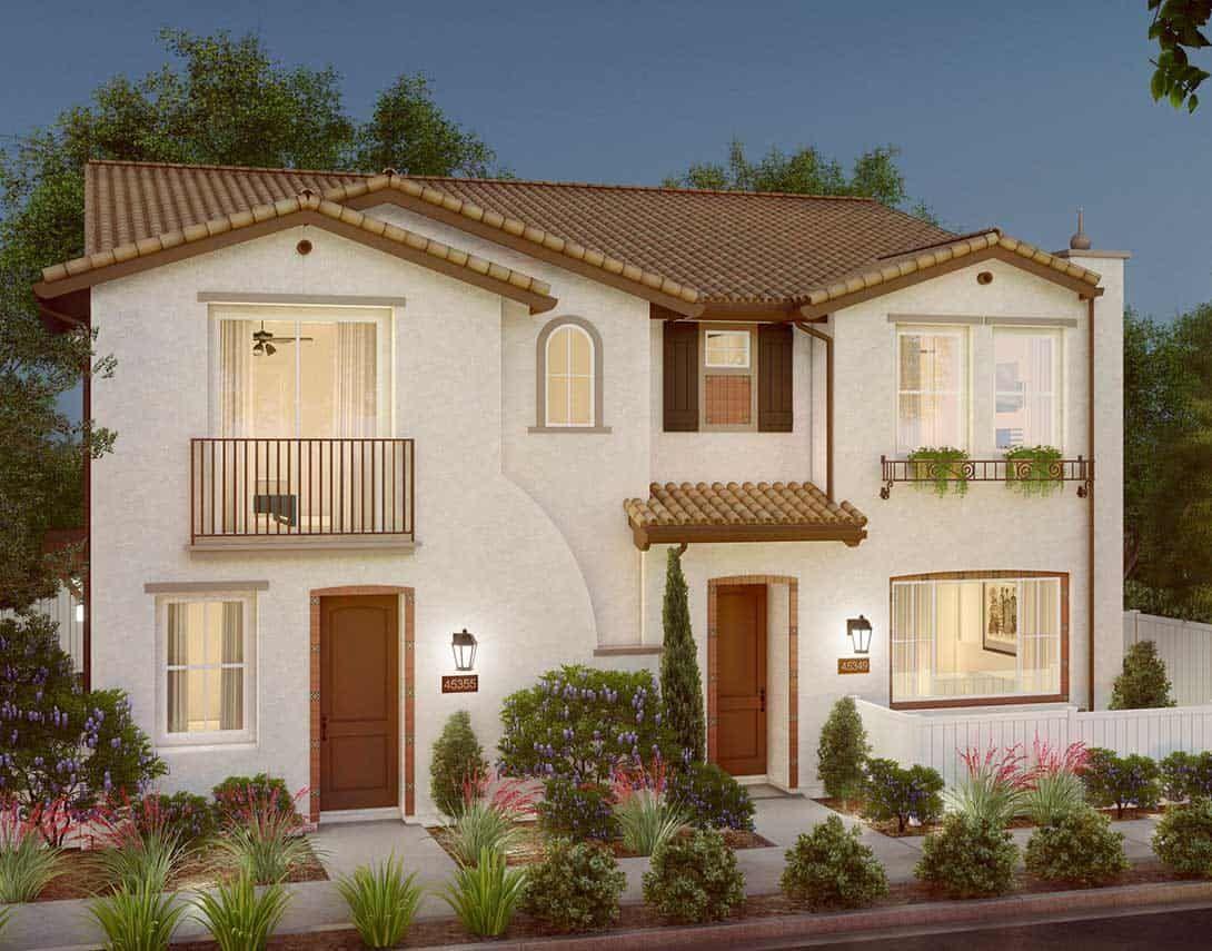 Cerro Plan 1A:Spanish Duplex Exterior Style Rendering