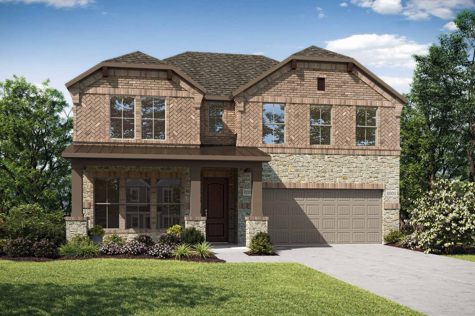 Elevation F:Elevation F is a two story stone and brick home design with a large front porch and herringbone bric