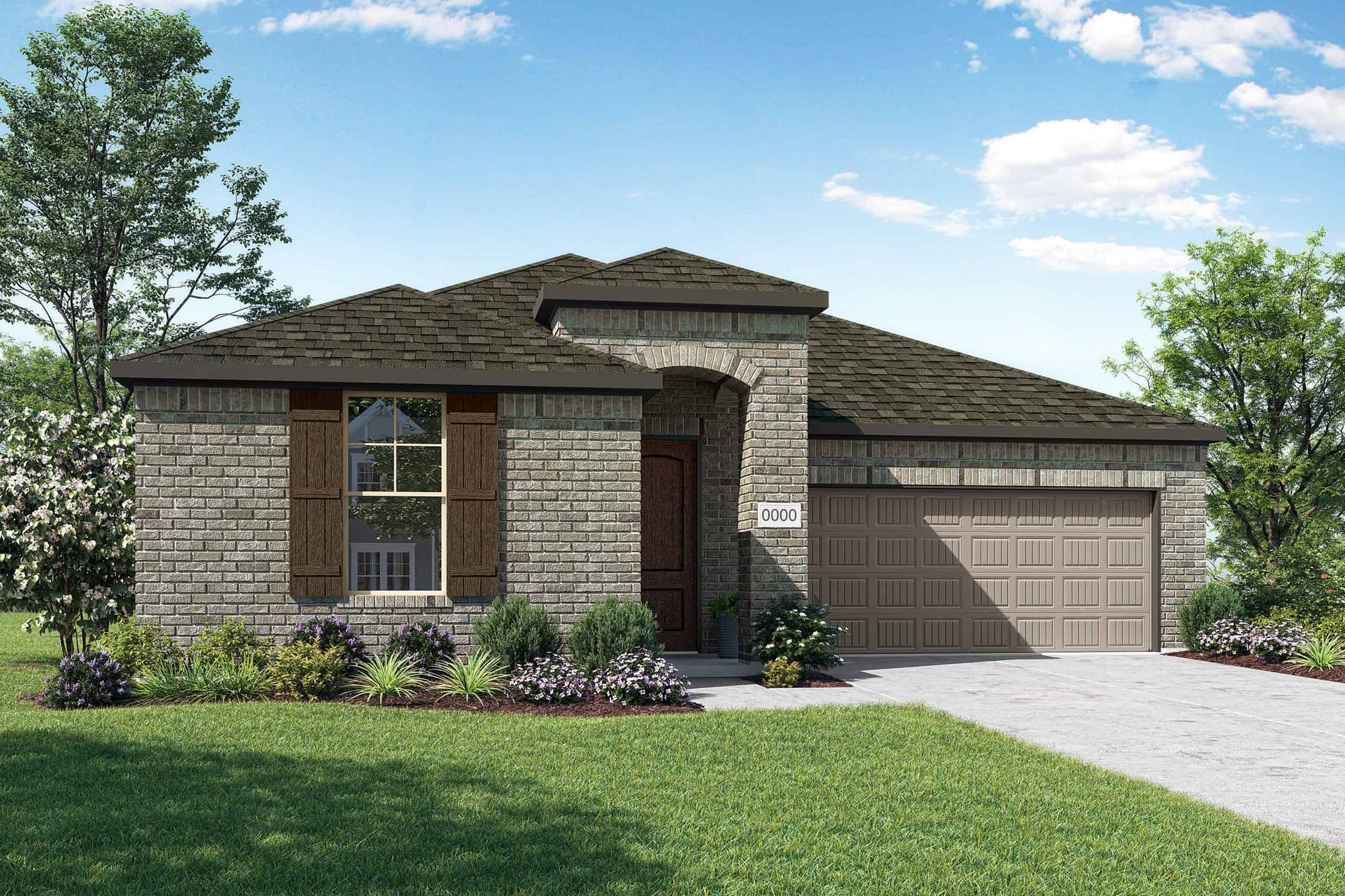 Elevation A:Elevation A is a single story traditional full brick home design with an arched entry and cedar shin