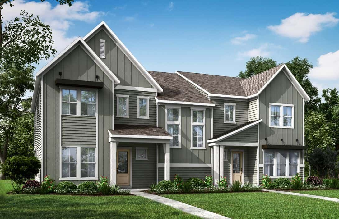 Mayes Hall | Plan 5- Paired Villa- Exterior Render:Mayes Hall | Plan 5- Paired Villa- Exterior Rendering- Elevation A-B