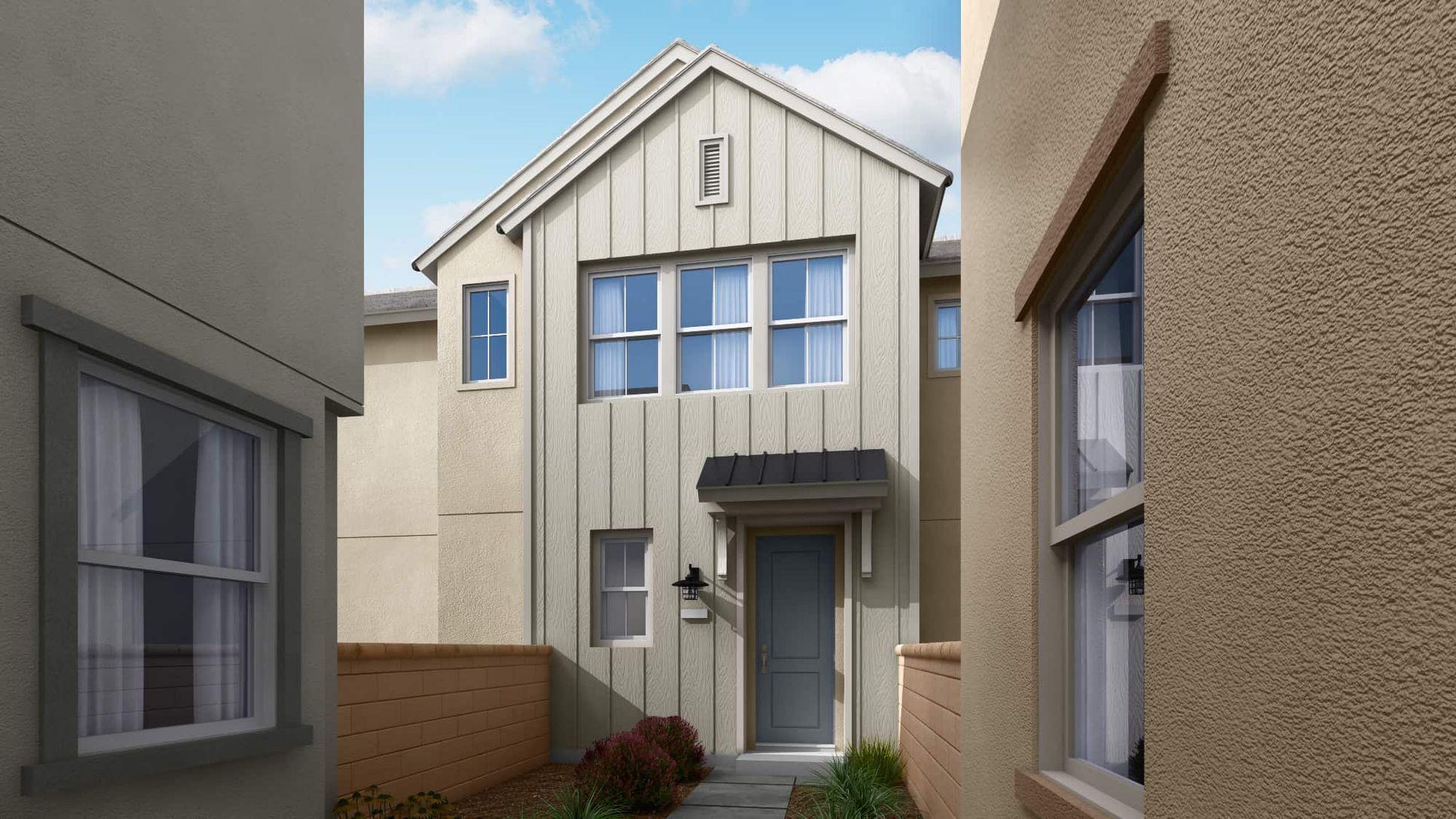 Delia Plan 1B:American Farmhouse Exterior Style | Preliminary Rendering