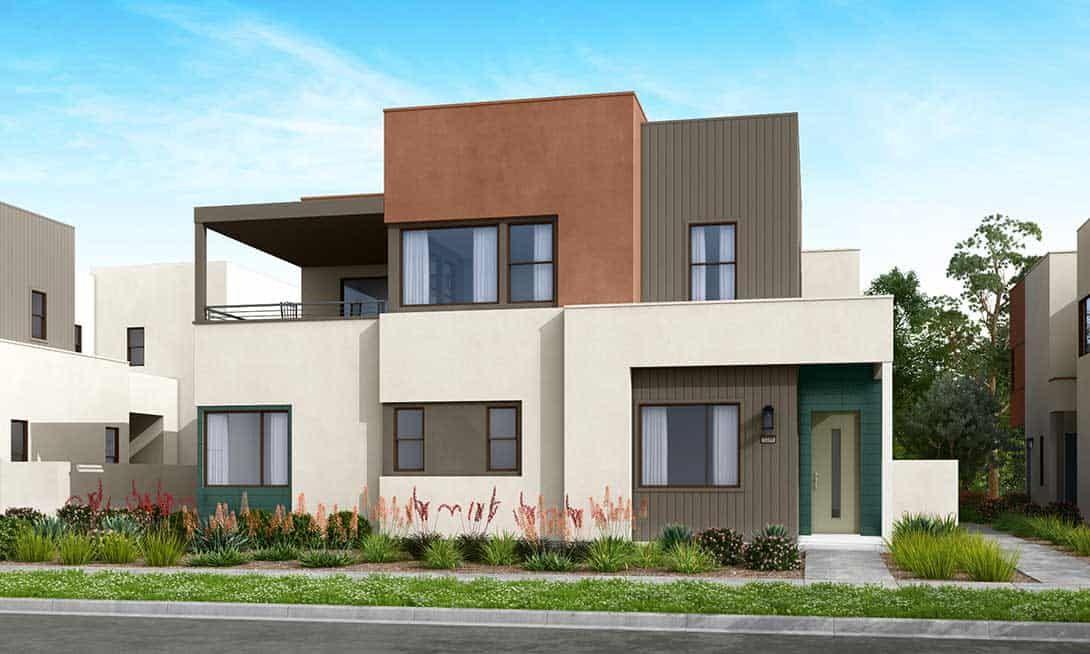 Rowan at Valencia Plans 1A & 2A:Modern Exterior Style Rendering