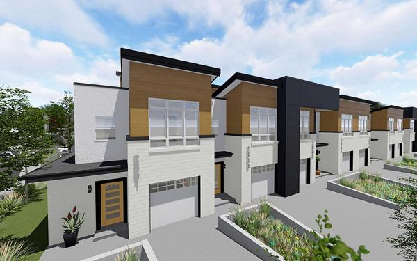 Aria Denver Townhome Rendering:Modern architecture with room to breathe