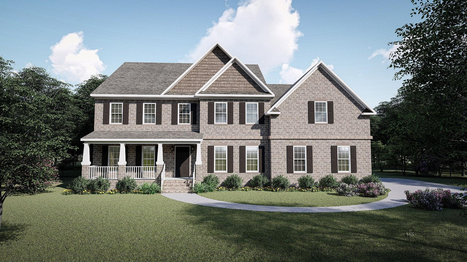 Brick Front w/Porch:The Wellsley