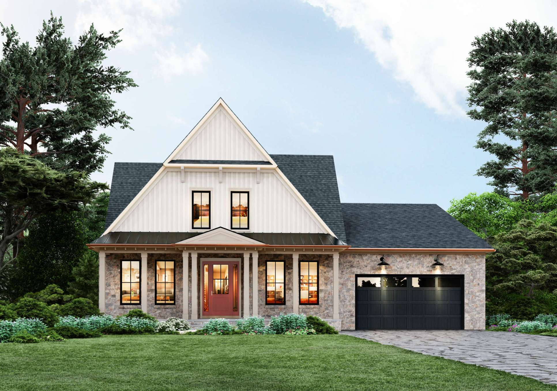 Eastwood, Elevation D with optional stone and optional glass door Elevation